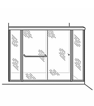 Semi-Frameless Bypass Door Shower Enclosure with 2 Inline Panels