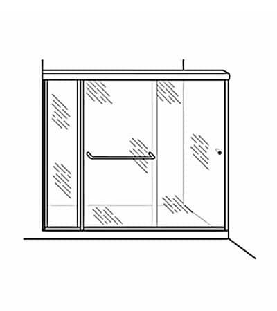 Semi-Frameless Bypass Door Shower Enclosure with Inline Panel