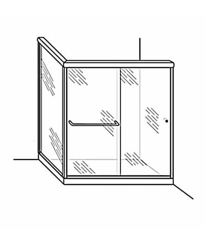 Semi-Frameless Bypass Door Shower Enclosure with Return Panel