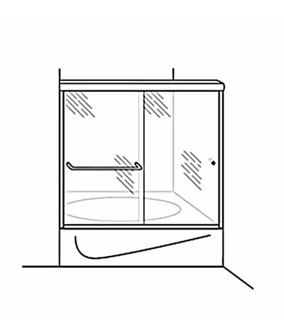 Semi-Frameless Bypass Door Shower Tub Enclosure