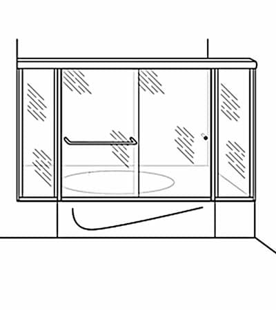 Semi-Frameless Bypass Door Shower Tub Enclosure with 2 Inline Panels