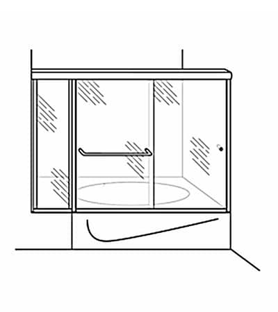 Semi-Frameless Bypass Door Shower Tub Enclosure with Inline Panel