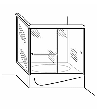 Semi-Frameless Bypass Door Shower Tub Enclosure with Return Panel