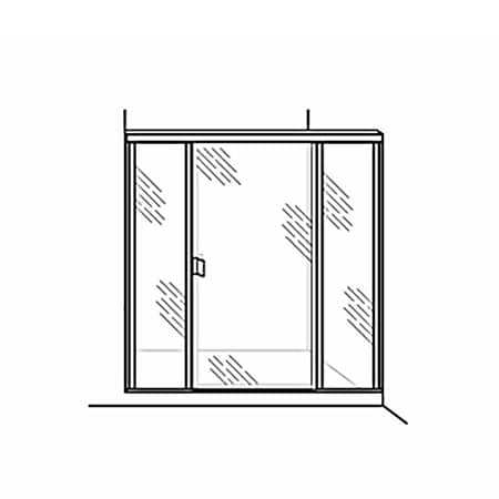 Semi-Frameless Door with 2 Inline Panels - DSI Glass Aurora